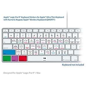 Apple Logic Pro 9 Laptop clave Atajos de Teclado Pegatinas Etiquetas - Para MAC