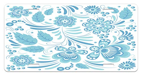 (Lunarable Flower License Plate, Soft Toned Artsy Blooms Leaves Spring Accents with Traditional Ceramic Effects, High Gloss Aluminum Novelty Plate, 5.88 L X 11.88 W Inches, Pale Blue White)