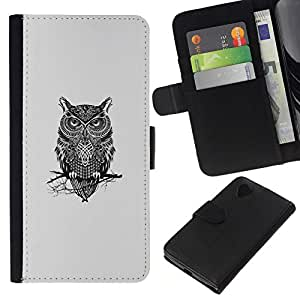 All Phone Most Case / Oferta Especial Cáscara Funda de cuero Monedero Cubierta de proteccion Caso / Wallet Case for LG Nexus 5 D820 D821 // Gangsta Owl