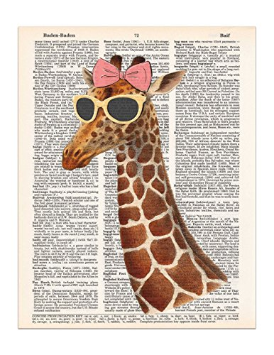 Cool Girl Giraffe with Sunglasses and a Pink Bow, Dictionary Page Art Print, 8x11 - Art Sunglass