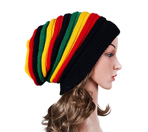 IRELIA Unisex Winter Warm Knitted Hats Cool Reggae Beanie Caps For Women & Men 002 (Hats For Dreads)