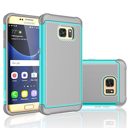 Hard Grey Rubber (Galaxy S7 Edge Case, Tekcoo [Tmajor Series] [Turquoise/Grey] Shock Absorbing Hybrid Rubber Plastic Impact Defender Rugged Slim Hard Case Cover Shell For Samsung Galaxy S7 Edge G935 All Carriers)