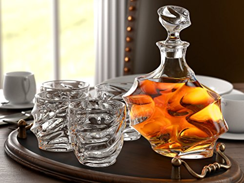 5-Piece Everest Whiskey Decanter Set. 4 Glasses and Scotch Decanter with Stopper. 27 Oz / 800 ML - Unique Elegant Dishwasher Safe Glass Liquor Bourbon Decanter Ultra - Clarity Glassware by Ashcroft