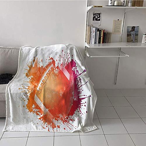 (Khaki home Children's Blanket Throw Print Summer Quilt Comforter (60 by 62 Inch,Sports Decor,Rugby Ball in Digital Watercolors Splash Recreational Leisure Sports Activity Run Design,Orange Red)