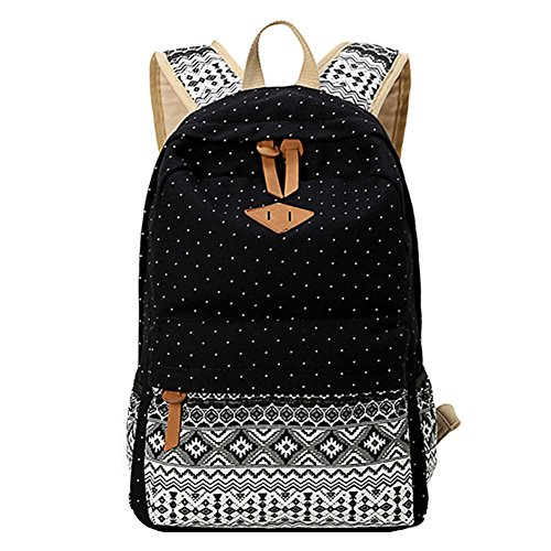 Teenage Laptop Travel For Print Black Bohemia School Lightweight Backpack Girl's Dot Bag Moollyfox Cute wv076x