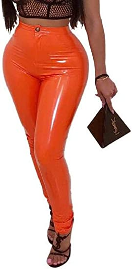 Memories Love Women Fleece Lined Skinny Stretch Faux Leather High Waisted Pants