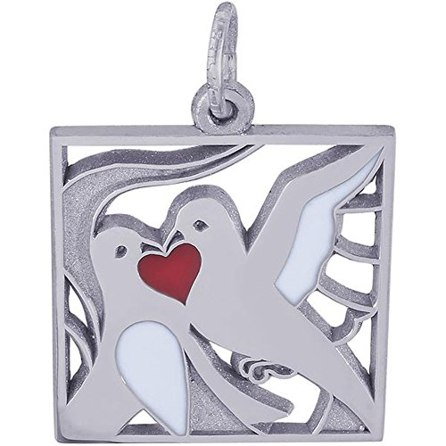 Rembrandt Charms Two Turtle Doves Charm or Pendant in Gold or Silver (Sterling -