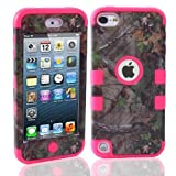Lantier For iPod Touch 5th Case,Plastic 3 Layer TUFF Hard Cover Camo Triple Hybrid Silicone Quakeproof Drop Resistance Protective Shell Case for iPod Touch 5 5th Generation with Screen Protector and Stylus Pen Brown Branch/Hot Pink