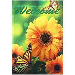 "51groups NEW Spring Decorative Garden Flag 12' X 18"" Designer Flag Small Banner Size (Butterflies & Yellow Daises Welcome)"