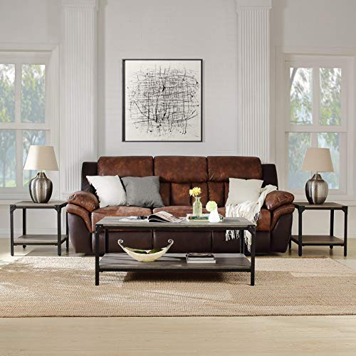 MIERES 3 Piece Coffee End Table Set Wood Modern Living Room Furniture Decor, Brown
