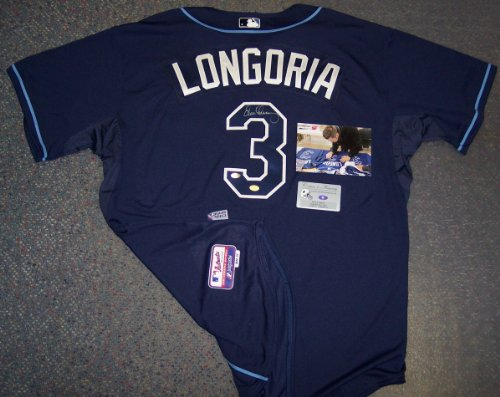 Evan Longoria Autographed Hand Signed Tampa Bay Rays Authentic Majestic Navy Blue Jersey - PSA/DNA