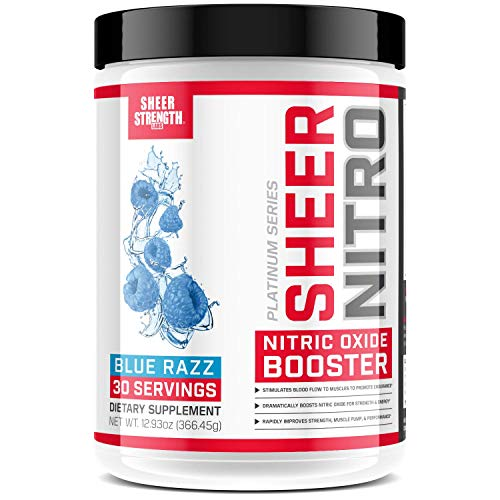 Caffeine Free Premium Nitric Oxide Boosting Pre Workout - Non-GMO - 30 Tingle-Free Preworkout Powder Servings for Men & Women - Blue Raspberry - NITRO Booster by Sheer Strength Labs - 366g