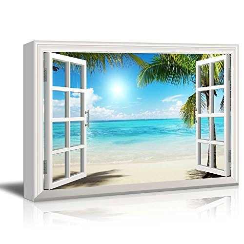 Print Window Frame Style Wall Decor Beautiful Tropical Beach with White Sand Clear Sea and Palm Trees Gallery