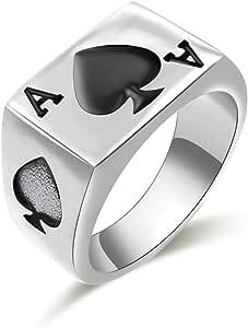JAJAFOOK Men's Stainless Steel Ring, Poker Spade Ace, Black Silver,Sizes 7-14