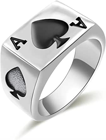 JAJAFOOK Mens Womens Stainless Steel Ring Poker Spade Ace Silver Black Sizes 6-14