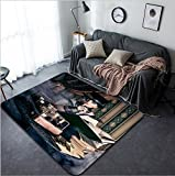 Vanfan Design Home Decorative Portrait of a beautiful steampunk woman over vintage background Modern Non-Slip Doormats Carpet for Living Dining Room Bedroom Hallway Office Easy Clean Footcl