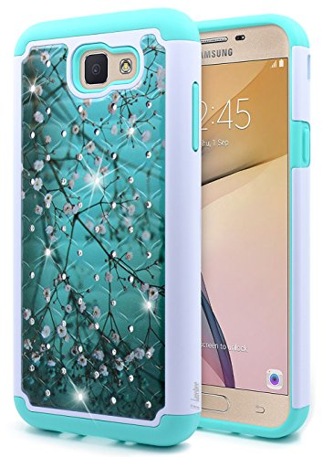 Galaxy J7 Sky Pro Case, Galaxy J7 Prime / J7 Perx/Halo / J7 V (Verizon), NageBee [Glitter Shiny Diamond] Armor Cover [Studded Rhinestone Bling] Shockproof Case for Samsung Galaxy J7 2017 -Plum