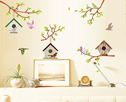 ufengke® Colorful Tree Vines Birdhouse and Flying Birds Wall Decals, Living Room Bedroom Removable Wall Stickers Murals