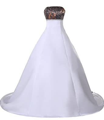 Ivydressing White and Camouflage Strapless A-Line Prom Gowns Wedding Dresses -2-White