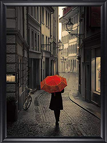 Red Rain by Stefano Corso Framed Canvas Art Print Wall Picture, Black Composite Frame 28×40 Finished Size