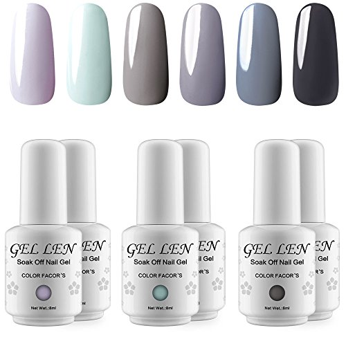 Gellen UV LED Gel Nail Polish Classic Gray Series 6 Colors H