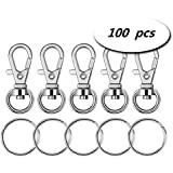 Yunko Metal Swivel Clasps Lanyard Snap Hook Lobster Claw Clasp and Keychain Rings, Pack of 100