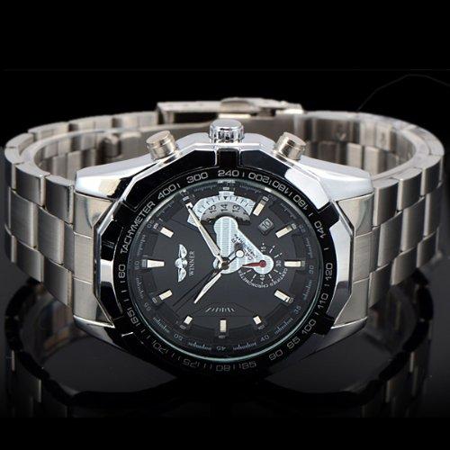 Winner - Reloj de pulsera hombre, acero inoxidable, color plateado: Amazon.es: Relojes