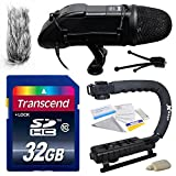 Professional DSLR Video Studio Broadcast Interview Microphone with Transcend 32GB Class 10 SD Memory Card + Opteka X-GRIP Action Sports Stabilizer Digital Camera Handle Grip + Camera And Lens Cleaning Kit for Sony NEX, Alpha, Cybershot, SLT Series A3000,