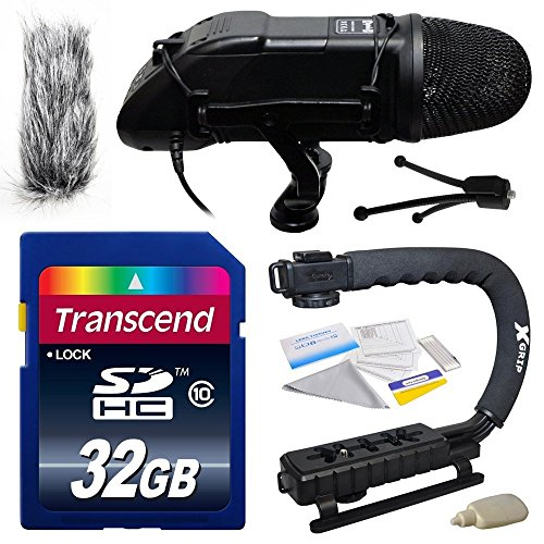 Professional DSLR Video Studio Broadcast Interview Microphone with Transcend 32GB Class 10 SD Memory Card + Opteka X-GRIP Action Sports Stabilizer Digital Camera Handle Grip + Camera And Lens Cleaning Kit for Sony NEX, Alpha, Cybershot, SLT Series A3000,  by Sony