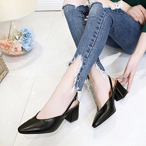 Fashion Black For Clearance Hoof Leisure Sale Toe Shoes Party Slip Pointed on Women��Farjing Heels Women Shoes IBZTfnZ