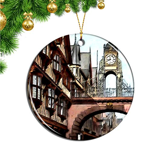 Hqiyaols Ornament UK England Eastgate Clock Chester Christmas Ornaments Ceramic Sheet Souvenir Travel Gift Collection Tree Door Window Ceiling Pendant Decorative (Christmas Chester Uk)