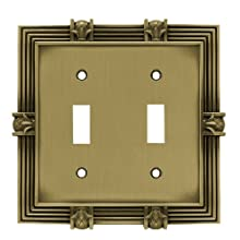 Franklin Brass 64470 Pineapple Double Toggle Switch Wall Plate / Switch Plate / Cover, Tumbled Antique Brass