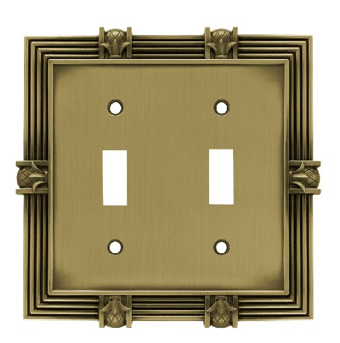 Antique Double Plate - Franklin Brass 64470 Pineapple Double Toggle Switch Wall Plate/Switch Plate/Cover, Tumbled Antique Brass