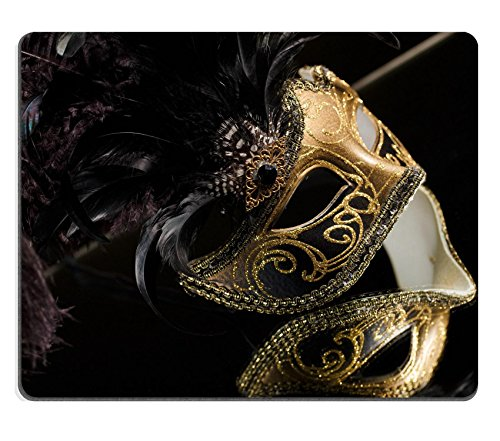 Luxlady Mouse Pad Natural Rubber Mousepad IMAGE ID: 27379002 Gold traditional venetian carnival mask Venice