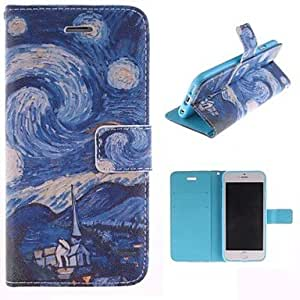 QHY Oil Painting Landscape Design PU Leather Full Body Cover with Stand and Money Holder for iPhone 6