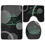 Faith Can Move Mountains Fashion Bath Mat Set Bathroom Carpet Rug Non-Slip 3 Piece Bath Mat Set