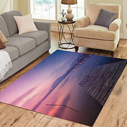 Pinbeam Area Rug Colorful Tihany The Inner Lake at Night from Home Decor Floor Rug 5' x 7' Carpet ()