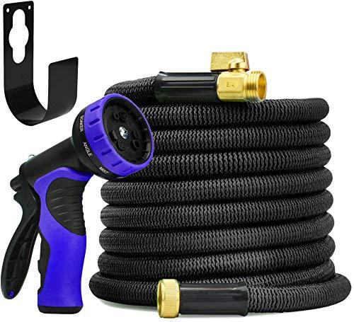 garDspo New World's Strongest Expandable Hose with Made in USA Inner Tube, Heavy Duty Expanding Hose Garden Hose Flexible Hose Set (100ft, Black)