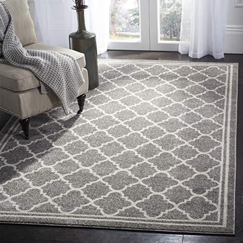 Safavieh Amherst Collection AMT422R Dark Grey and Beige Indoor/ Outdoor Area Rug (8' x 10') (Furniture Patio Kohls)