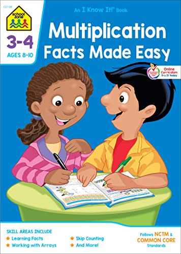School Zone - Multiplication Facts Made Easy Workbook - Ages 8 to 10, 3rd Grade, 4th Grade, Multiplication Tables, Factors, Common Core, and More (School Zone I Know It!® Workbook Series)