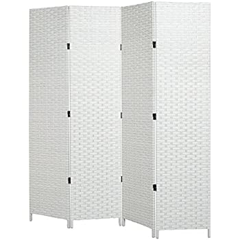 mygift folding room divider standing 4 panel woven privacy screen white