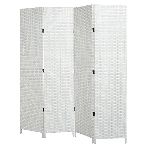 mygift-folding-room-divider-standing-4-panel-woven-privacy-screen-white