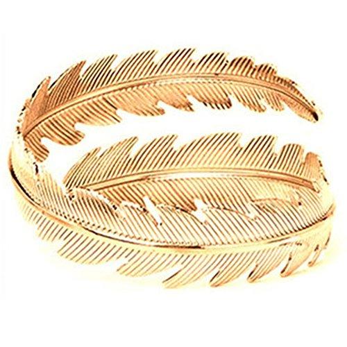 Cuff Leaf Bracelet (Lanyan Jewelry Fashion Arm Swirl Leaf Feather Cuff Armlet Armband Upper Bangle Bracelet Adjustable)