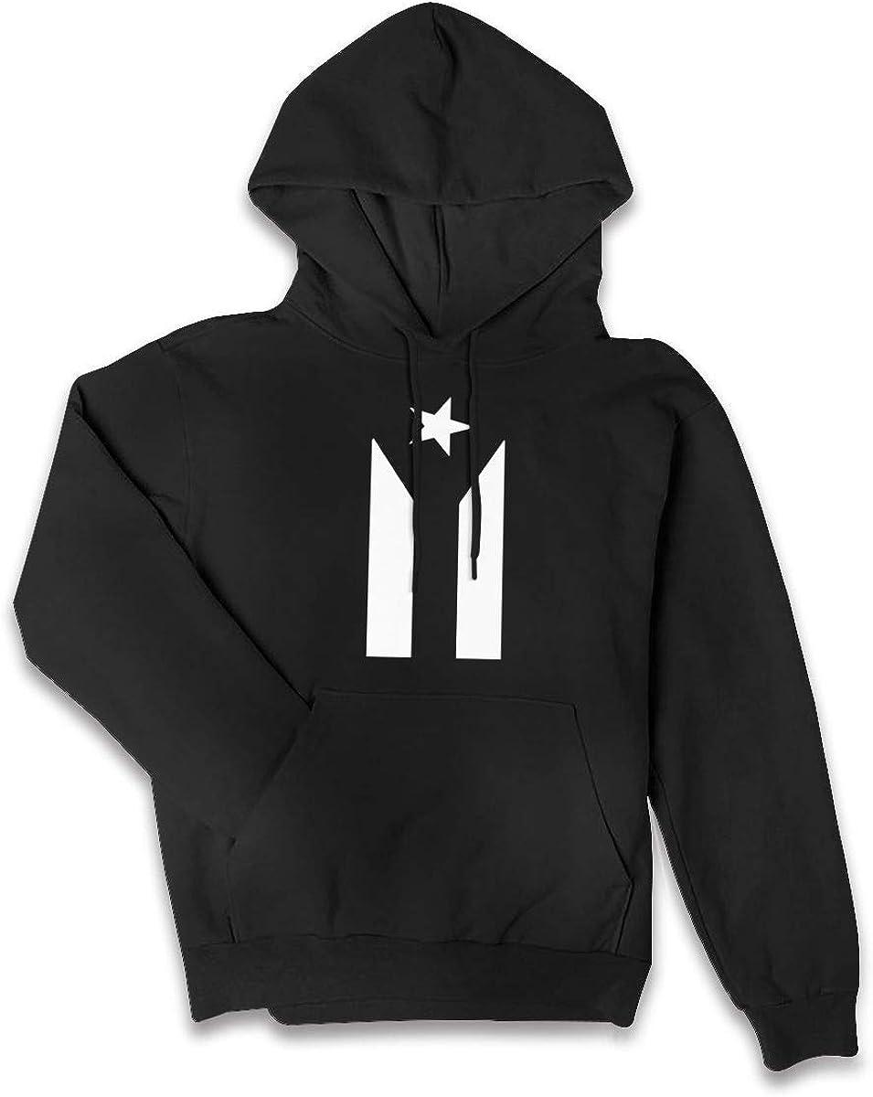 Puerto Rico Black /& White Protest Flag Womens Fashion Sport Hip Hop Hoodie Sweatshirt Pocket Hoodie Outwear