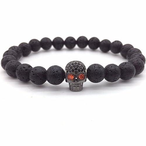 172e5cc3c2c73 KOKOSHELL Skull bracelet for men / Skull bracelet for women: skull charm,  skull jewelry for women, bracelets men, bracelet beads, natural stone ...