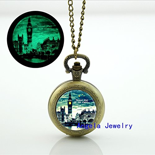 Pretty Lee Fashion Second Star to the Right Glowing Pocket Watch Necklace London Big Ben Jewelry Glowing Pendant
