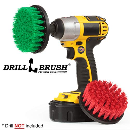 Drill Brush - Indoor/Outdoor Medium and Stiff 4-inch Round - Spin Brush - Combo Kit - Cleaning Supplies - Stove, Oven, Sink - Grout Cleaner - Outdoor Rug - Deck Brush - Algae, Mold, Mildew, and Moss