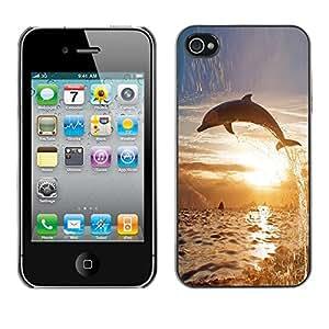 Qstar Arte & diseño plástico duro Fundas Cover Cubre Hard Case Cover para Apple iPhone 4 / iPhone 4S / 4S ( Dolphin So Long Sunset Ocean Animal)