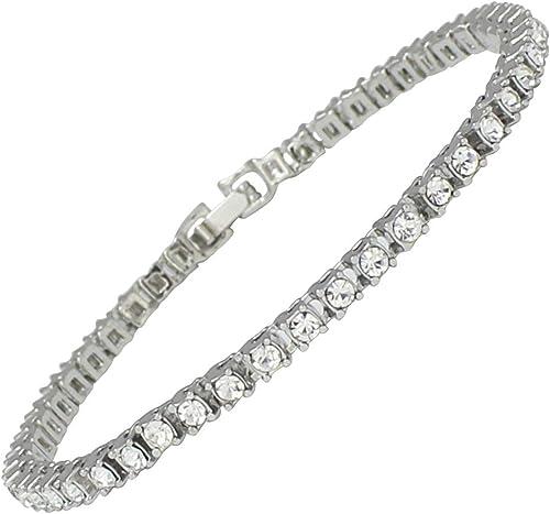 Men Diamond Crystal Single Row Tennis Bracelet Yellow White Gold Classical
