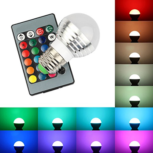 2-Pack E26/27 3W RGB LED Bulbs, 25W Incandescent Bulb Equivalent, 24 Key IR Remote Included, Control of Lighting 16 Color Changes, LED Light Bulb Lamp